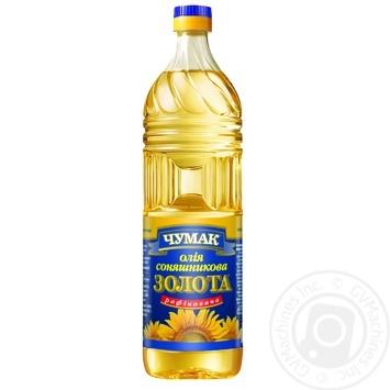Масло Чумак Золотое подсолнечное рафинированное 0,9л - купить, цены на Метро - фото 1