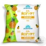 Yogurt Dobrynya pineapple with fruit pieces 2.5% 450g sachet Ukraine