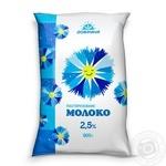 Молоко Добриня пастеризоване 2.5% 900г плівка Україна