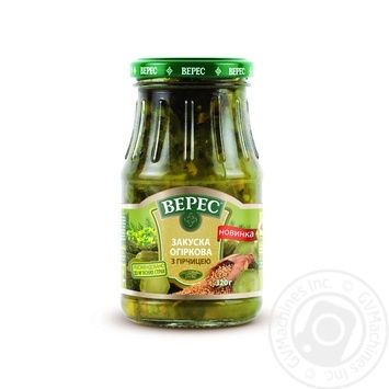 Vegetables cucumber Veres with mustard canned 320g glass jar