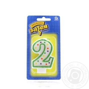 Свічка-цифра 2 Веселая затея 1502-0139 7,6см - купить, цены на Novus - фото 2