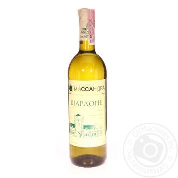 Wine chardonnay Massandra white dry 10-14% 750ml glass bottle
