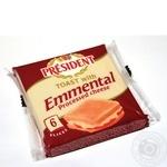 Сир плавлений 40% з Ементалем для сендвічей President 120г