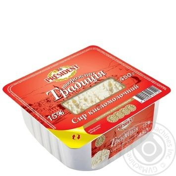 Cottage cheese President Cottage cheese tradition 15% 450g Ukraine