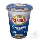 Сметана Президент 15% пластиковий стакан 400г Україна