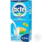 Молоко Лактель ультрапастеризованное с витамином Д 0.5% 1000г тетрапакет Украина