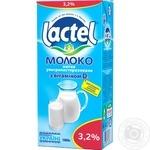 Молоко Лактель ультрапастеризованное с витамином Д 3.2% 1000г тетрапакет Украина