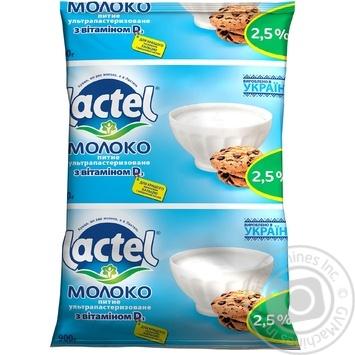 Молоко Лактель ультрапастеризованное с витамином Д 2.5% 900г