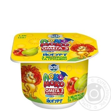 Йогурт Лактель Локо Моко яблоко-груша обогащенный кальцием омегой 3 и витамином D 1.5% 115г - купить, цены на Novus - фото 1