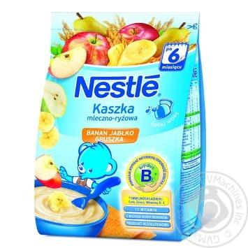 Скидка на Каша молочная рисовая Nestle с бананом яблоком грушей 230г