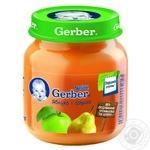 Пюре фруктовое Гербер Яблоко-Груша без крахмала и сахара для детей с 4 месяцев стеклянная банка 130г Польша