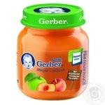 Пюре Гербер яблоко и персик без крахмала и сахара для детей с 5 месяцев 130г