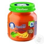 Пюре фруктовое Гербер Яблоко-Абрикос-Банан без крахмала и сахара для детей с 6 месяцев стеклянная банка 130г Польша