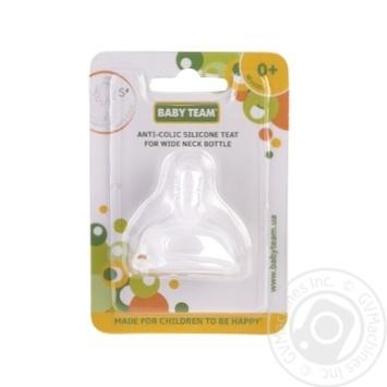 Соска силіконова антиколікова для пляшечок з широким горлом 0+ Baby Team - купить, цены на Novus - фото 1