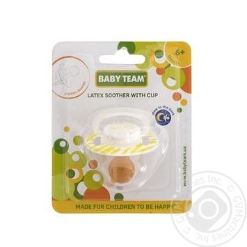 Пустушка латексна вишнеподібної форми з ковпачком та кільцем, що світиться вночі Baby Team арт.3225 - купити, ціни на Novus - фото 1