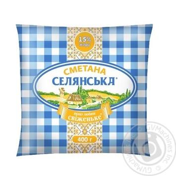 Selyanske Sour Сream 15% 400g - buy, prices for Furshet - image 1