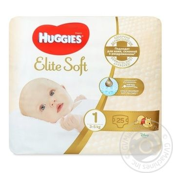 Huggies Elite Soft 1 Diapers 3-5kg 25pcs - buy, prices for CityMarket - photo 1