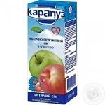 Сок Карапуз яблочно-персиковый с мякотью и сахаром детский гомогенизированный с 4 месяцев 200мл