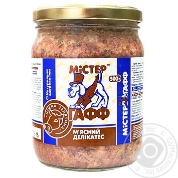 Консерви м`ясні делікатеси для собак Містер Гафф з ніжною телятиною 500г - купити, ціни на МегаМаркет - фото 1
