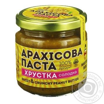 Паста арахисовая Master Bob Хрустящая сладкая 200г - купить, цены на Novus - фото 1