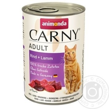 Консерва для котів Карні яловичина-ягня 400г х6