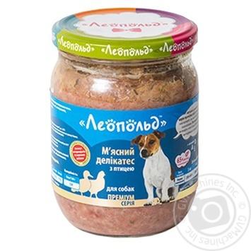 Корм Леопольд Мясной деликатес влажный из птицы для собак 500г