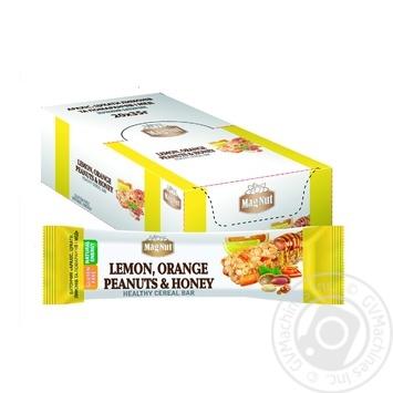 Батончик зерновий MagNut Цукати лимонів та апельсинів, арахіс і мед 35г - купити, ціни на МегаМаркет - фото 1