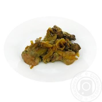 Печень куриная жареная с луком - купить, цены на Фуршет - фото 1