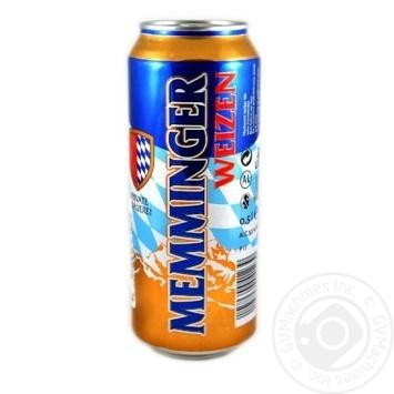 Пиво Memminger Weizen светлое нефильтрованное 5,1% 0,5л - купить, цены на Ашан - фото 1