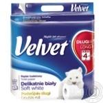 Туалетная бумага Velvet Деликатная мягкая белая 3 слоя 4шт