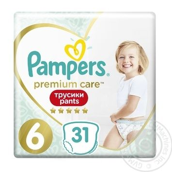 Трусики Pampers Premium Care 15+ кг 6 Extra large 31шт - купить, цены на Фуршет - фото 1
