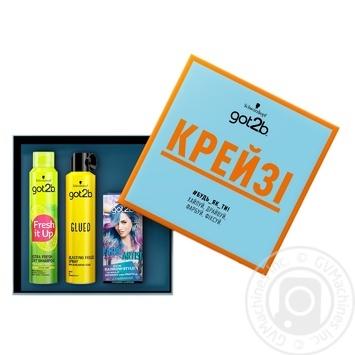 Набір Got2b Крейзі (Сухий шампунь Extra Fresh 200мл+Лак Glued 300мл+Тонуюча фарба Farb Artist 111 Аква Мікс) - купить, цены на Novus - фото 1