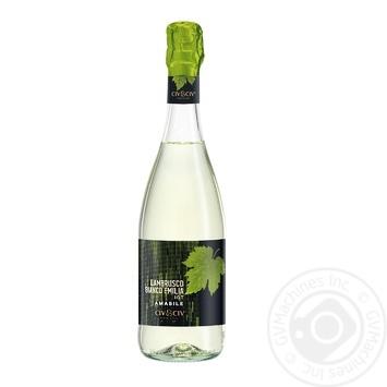 Вино игристое Le Foglie Lambrusco Bianco dell'Emilia Amabile белое полусладкое 8% 0.75л - купить, цены на Фуршет - фото 1