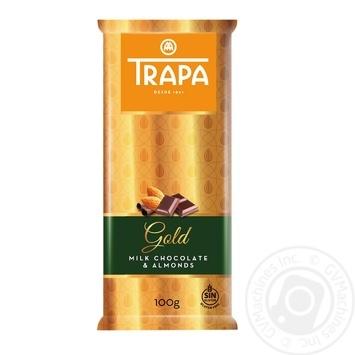 Шоколад TRAPA Gold молочный с миндалем 100г