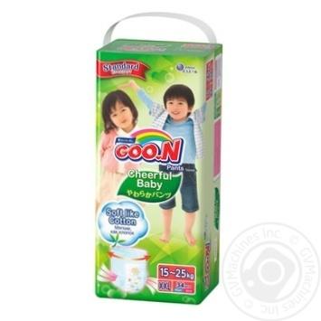 Підгузники-трусики GOO.N Cheerful Baby розмір XXL унісекс для дітей 15-25кг 34шт