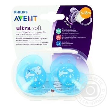 Пустышка Avent мягкая для мальчиков 6-18 месяцев 2шт - купить, цены на Фуршет - фото 1