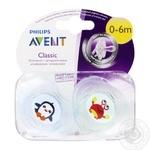 Пустышка Avent для мальчиков 0-6 месяцев краб+пингвин 2шт