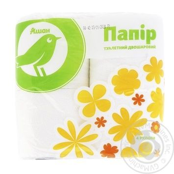 Auchan Toilet Paper Two-Layer Cellulose White 4pcs - buy, prices for Auchan - photo 1