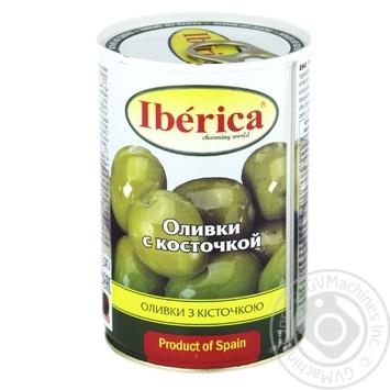 Оливки зеленые Iberica с косточкой 420г