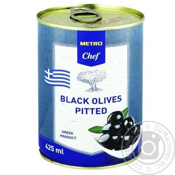 Оливки черные METRO Chef без косточки 425мл - купить, цены на Метро - фото 1