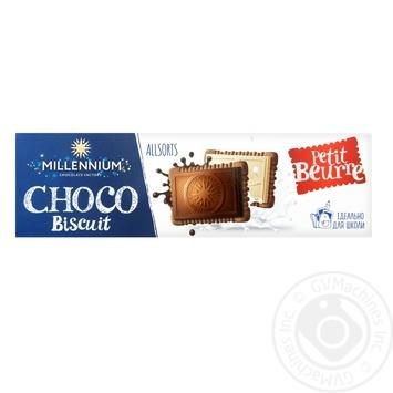Шоколад Millennium Choco Biscuit ассорти с печеньем 132г - купить, цены на Фуршет - фото 1