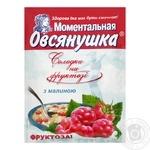Каша вівсяна Вівсянушка з фруктозою малиною і вершками солодка швидкого приготування 40г
