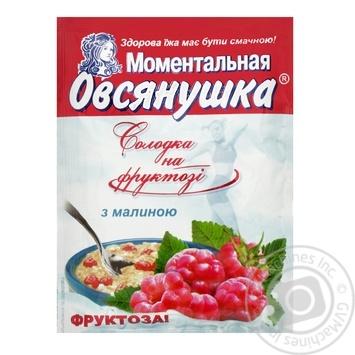 Каша овсяная Овсянушка с фруктозой малиной и сливками сладкая быстрого приготовления 40г - купить, цены на Фуршет - фото 1