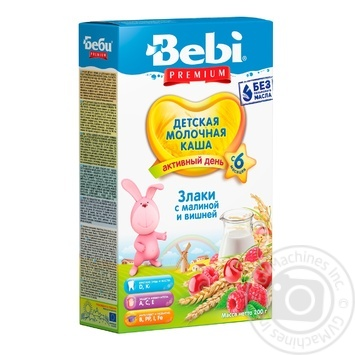Dry instant milk porridge Bebi Premium Cereals with raspberries and cherries enriched with vitamins and minerals for 6+ month old babies 5-6 portions 200g - buy, prices for Novus - image 1