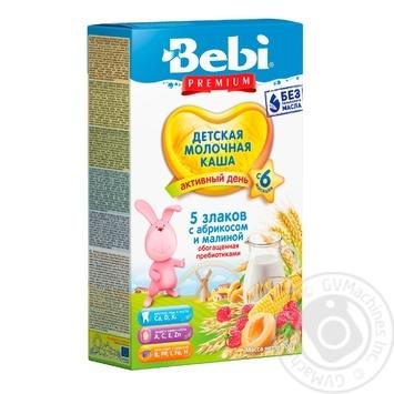 Каша Bebi Premium 5 злаков абрикос и малина 200г - купить, цены на Фуршет - фото 1