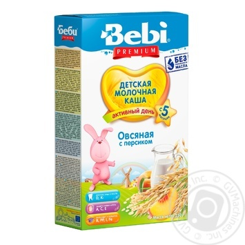 Каша дитяча Бебі Преміум Вівсяна з персиком молочна суха швидкорозчинна 8-9 порцій з 5 місяців 250г - купити, ціни на Фуршет - фото 1