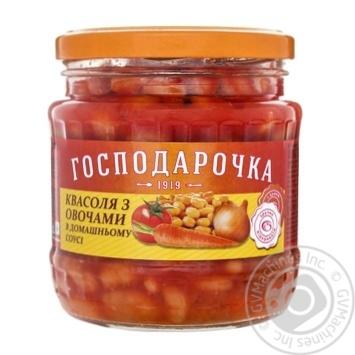 Консервы Господарочка фасоль с овощами в домашнем соусе 460г