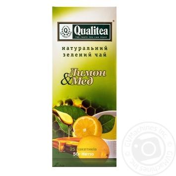 Зеленый чай Кволити Лимон и Мед в пакетиках 25х2г - купить, цены на Фуршет - фото 1