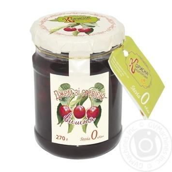 Jam Korysna kondyterska cherry for diabetics 270g glass jar - buy, prices for Novus - image 1