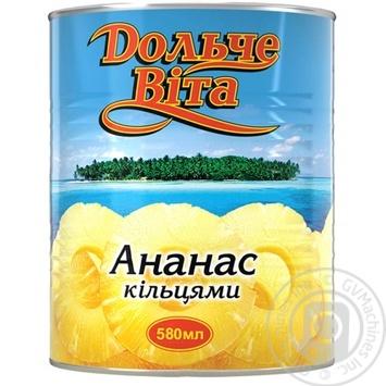Ананасы Дольче Вита кольцами в сиропе 580мл - купить, цены на Novus - фото 1